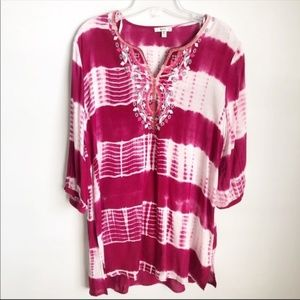 Jodifl |  Tie Dyed Embroidered Tunic | Small